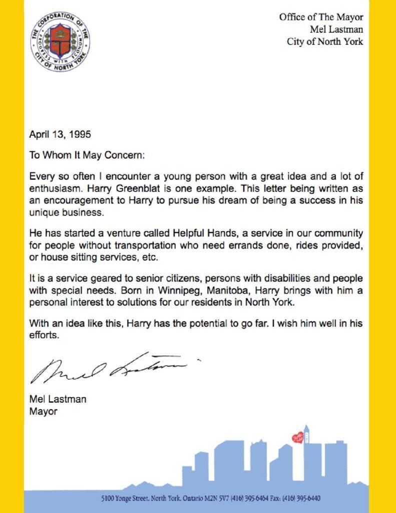 Testimonial by Mayor Mel Lastman